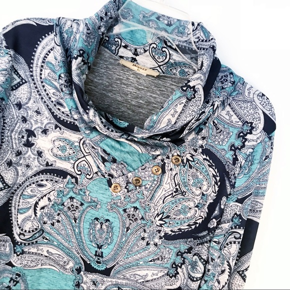 441af3b49fd2ca Miusey Cowl Neck Tunic Shirt Paisley Green Sz XL. M 5b4fd435d365be7a26034122